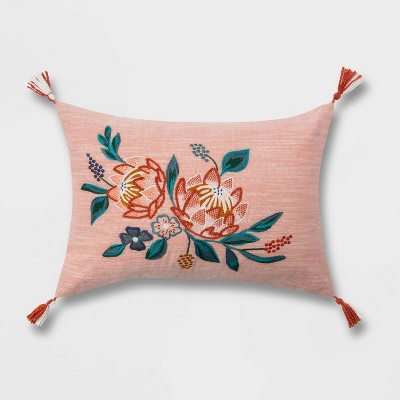 Floral Embroidered Lumbar Throw Pillow with Cording Pink - Opalhouse™