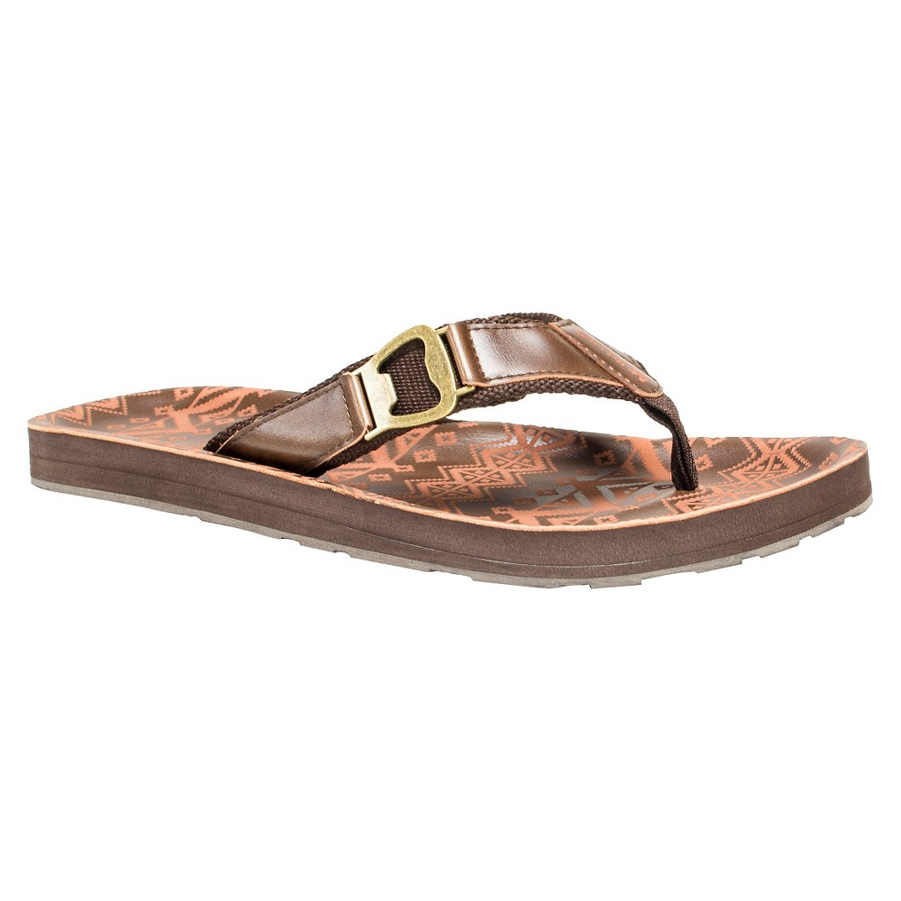 Men's Muk Luks Silas Flip Flop Sandals - Brown 12