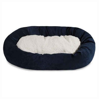 Majestic Pet Navy Villa Collection Sherpa Bagel Dog Bed - Navy - 24
