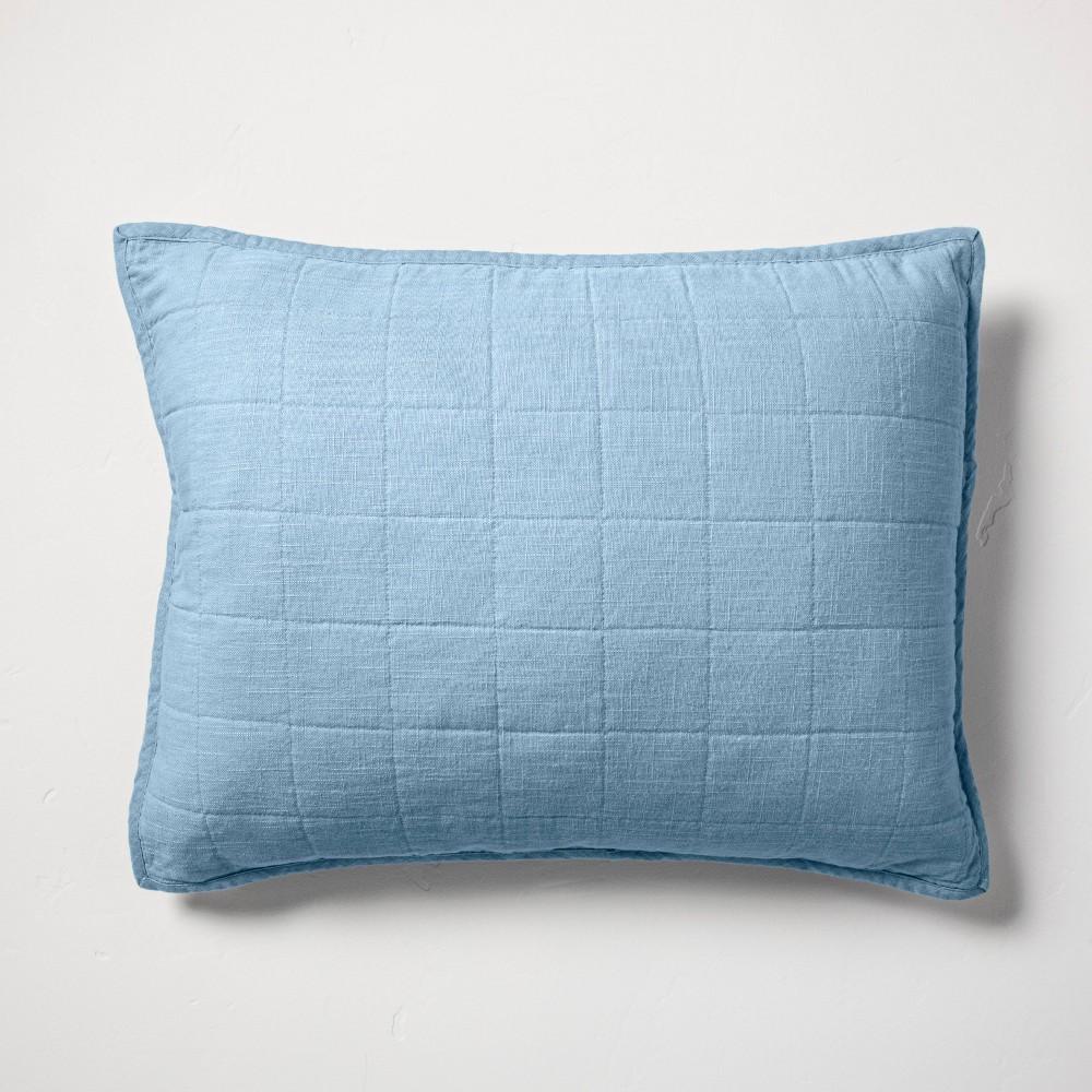 Standard Heavyweight Linen Blend Quilted Pillow Sham Sky Blue - Casaluna