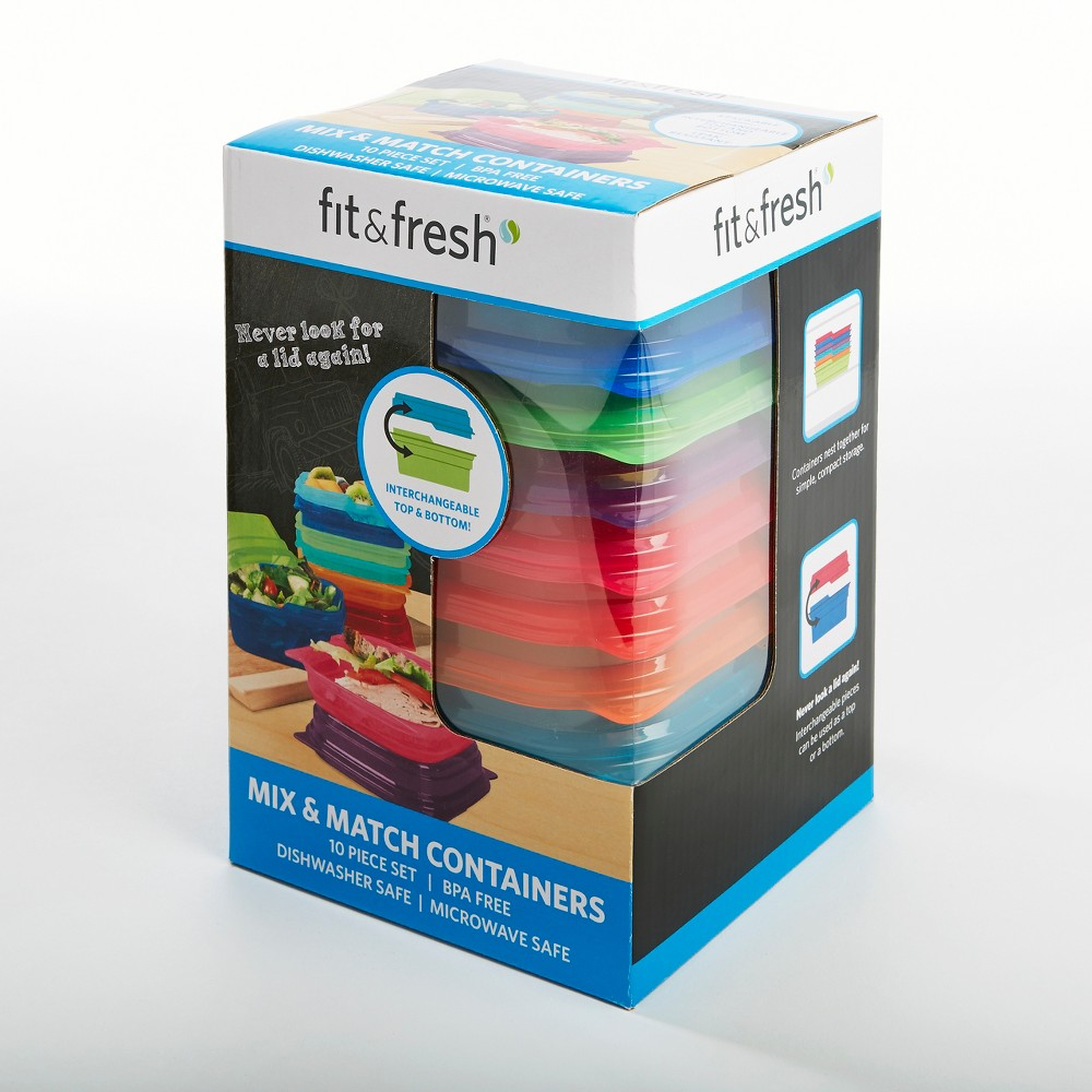 Fit & Fresh Mix & Match Containers - 10pc Set, Multi-Colored