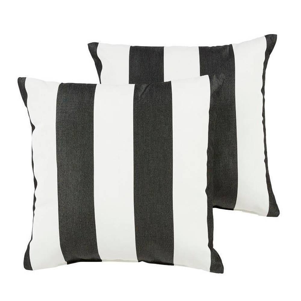Sunbrella 2pk Cabana Classic Outdoor Throw Pillows Black White