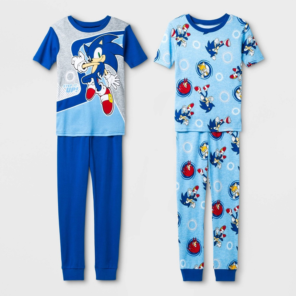 Image of Boys' Sonic 4pc Pajama Set - Blue 4, Boy's