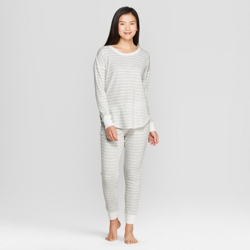 Women's Striped Pajama Set - Gilligan & O'Malley™ Gray - image 1 of 2