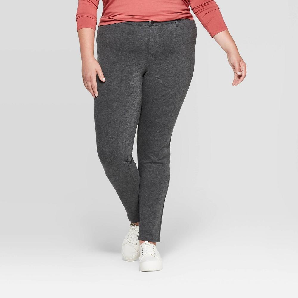 Image of Women's Plus Size 5 Pocket Ponte Pants - Ava & Viv Dark Heather Gray 26W, Dark Grey Gray
