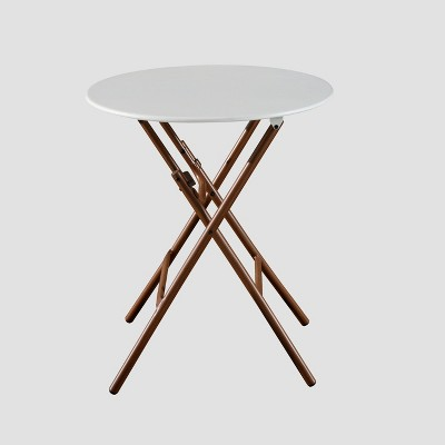 French Café Folding Patio Bistro Table White/Brown - Threshold™