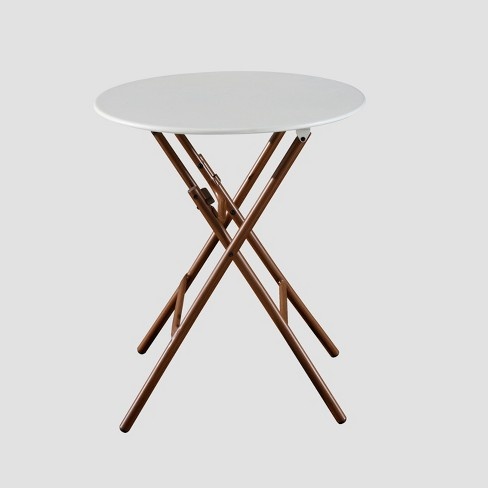 French Café Folding Patio Bistro Table White Brown Threshold
