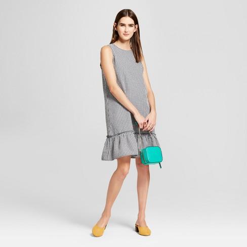c1fdd7a24d Women's Sleeveless Seersucker Gingham Ruffle Dress - Alison Andrews Black /White