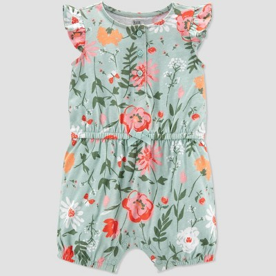 Baby Girls' Floral Romper - Just One You® made by carter's Mint