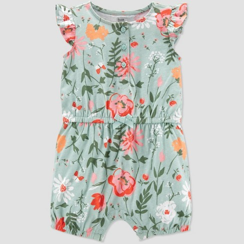 Baby Girls' Floral Romper - Just One You® made by carter's Mint - image 1 of 2