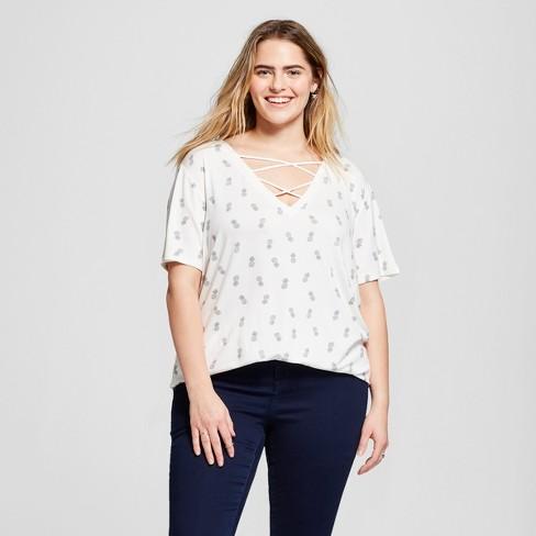 1aa986137f2 Women s Plus Size Pineapple Tossed Print Criss-Cross V-Neck Short Sleeve  Graphic T-Shirt - Zoe+Liv Ivory