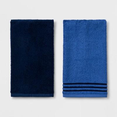 2pk Solid Hand Towel Set Navy/Dark Blue - Room Essentials™