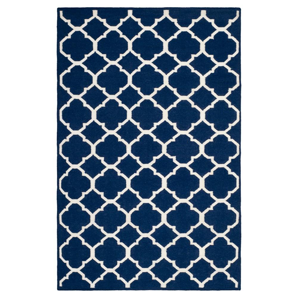 Low Price York Dhurrie Area Rug Navy Blue Ivory 6 X 9 Safavieh