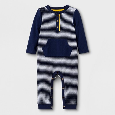 Baby Boys' Long Sleeve Mini Stripe Henley Romper with Kangaroo Pocket - Cat & Jack™ Navy 3-6M