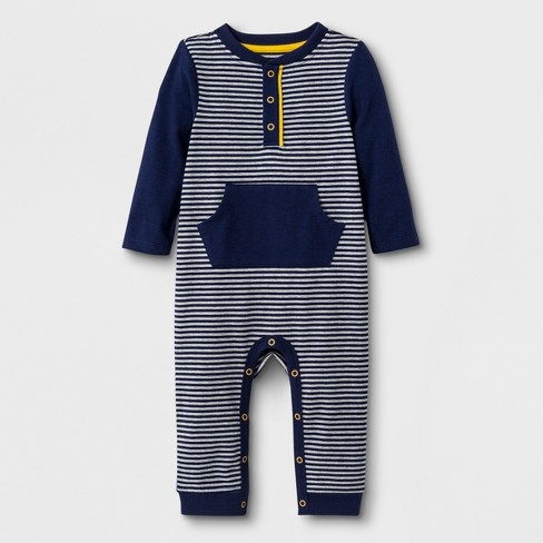 0d0e06dfe80a Baby Boys  Long Sleeve Mini Stripe Henley Romper With Kangaroo ...