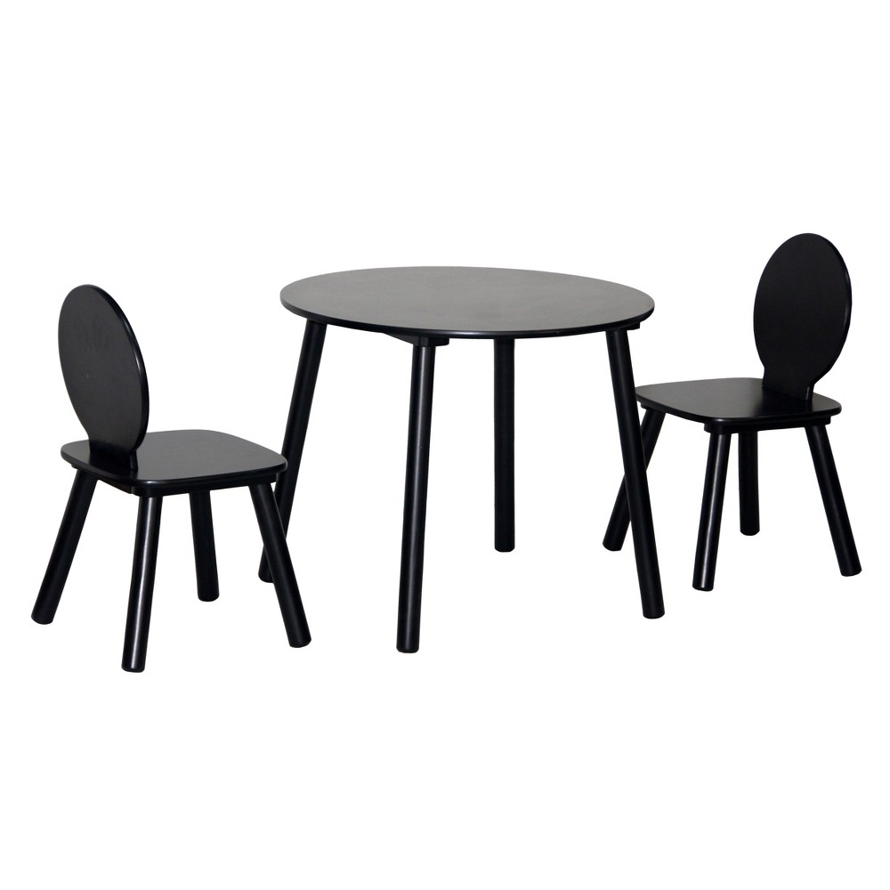 Image of 3pc Kids Round Table and Chairs Black - Acessentials