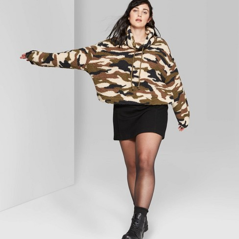 Women's Plus Size Camo Print Cowl Neck Sherpa Pullover - Wild Fable™ Olive 2X - image 1 of 3