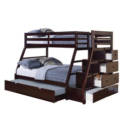 Jason Kids Bunk Bed with Storage and Trundle - Espresso(Twin/Full) - Acme