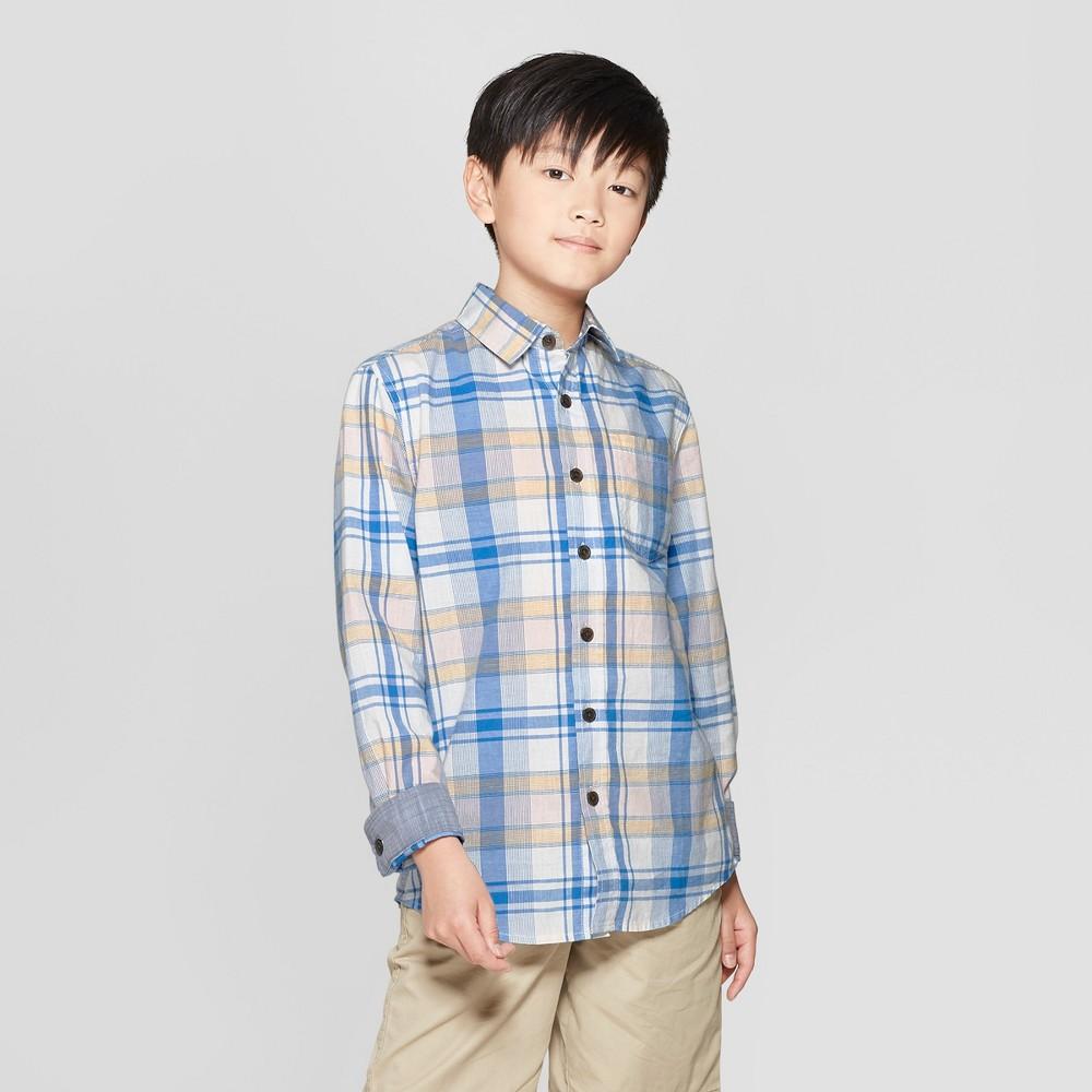 Boys' Plaid Long Sleeve Button-Down Shirt - Cat & Jack XS, White