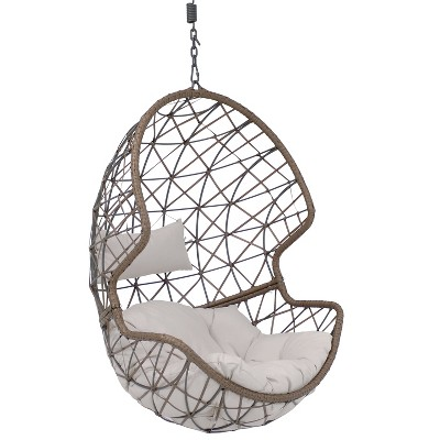 Danielle Resin Wicker Hanging Egg Chair with Gray Cushions - Sunnydaze Decor