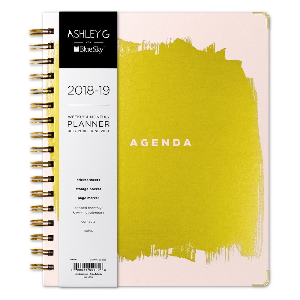 2018-19 Academic Planner Gold Foil 7 x 9 Pink - Ashley G