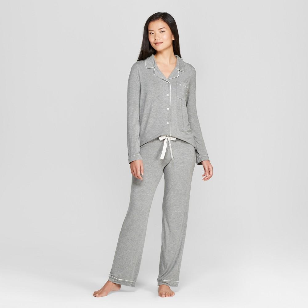 Women's Total Comfort Notch Collar Pajama Set Gray L
