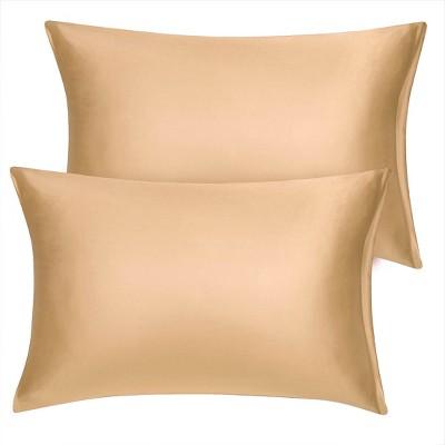 2 Pcs Toddler Silk Satin with Zipper Pillowcase Gold - PiccoCasa
