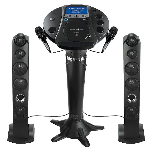 Singing Machine Karaoke System with Resting Tablet Cradle and LCD Color Monitor and Microphones - Black - image 1 of 8