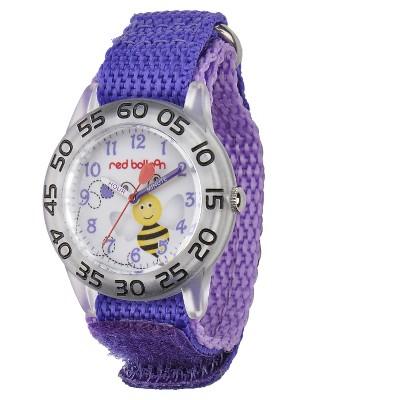 Girls' Red Balloon Bumblebee Plastic Time Teacher Watch - Purple