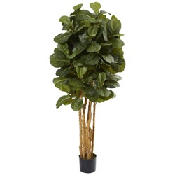 5ft Artificial Fiddle Leaf Fig Tree in Pot Green - Nearly Natural