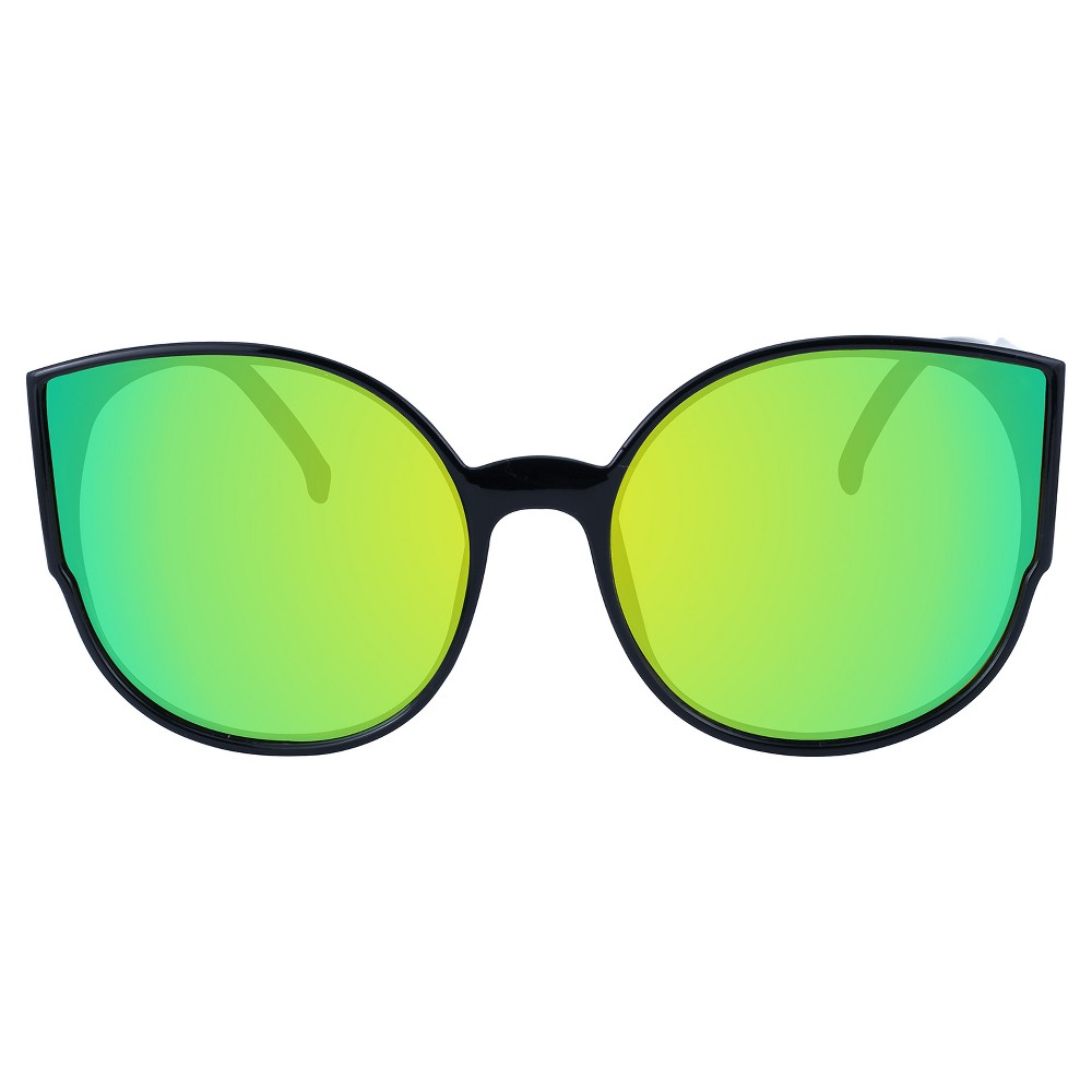 Women's Oversized Plastic Sunglasses - Black Gold Flash