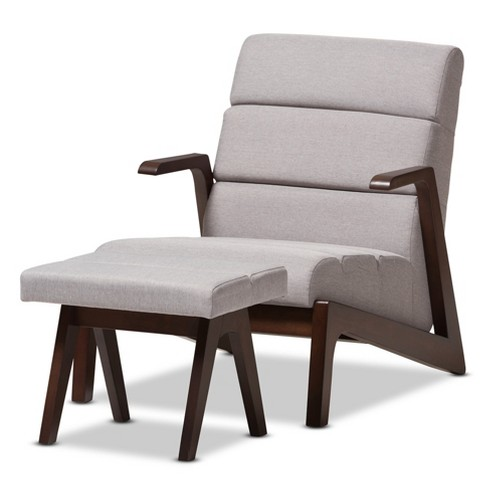 Vino Mid Century Modern Fabric Lounge Chair Set With Wood Finish Gray Walnut Brown Baxton Studio