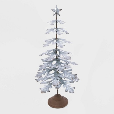 "33"" Galvanized Metal Christmas Tree Decorative Figurine - Gerson International"