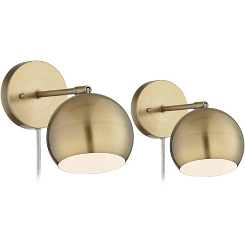 360 Lighting Wall Lights LED Plug In Set of 2 Brass Sphere Shade Pin Up for Bedroom Living Room Reading - image 1 of 4