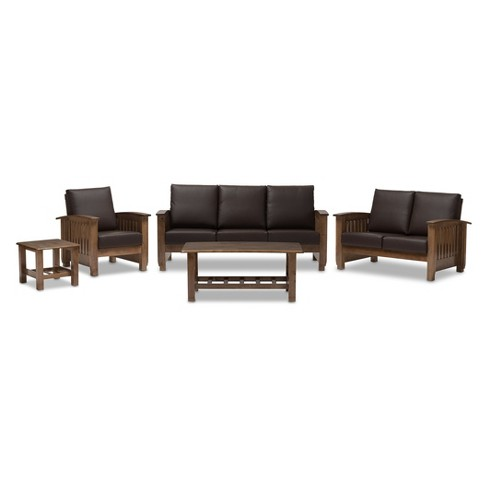 Charlotte Modern Classic Mission Style Faux Leather Living Room 5 - Piece Set - Walnut Brown - Baxton Studio - image 1 of 3