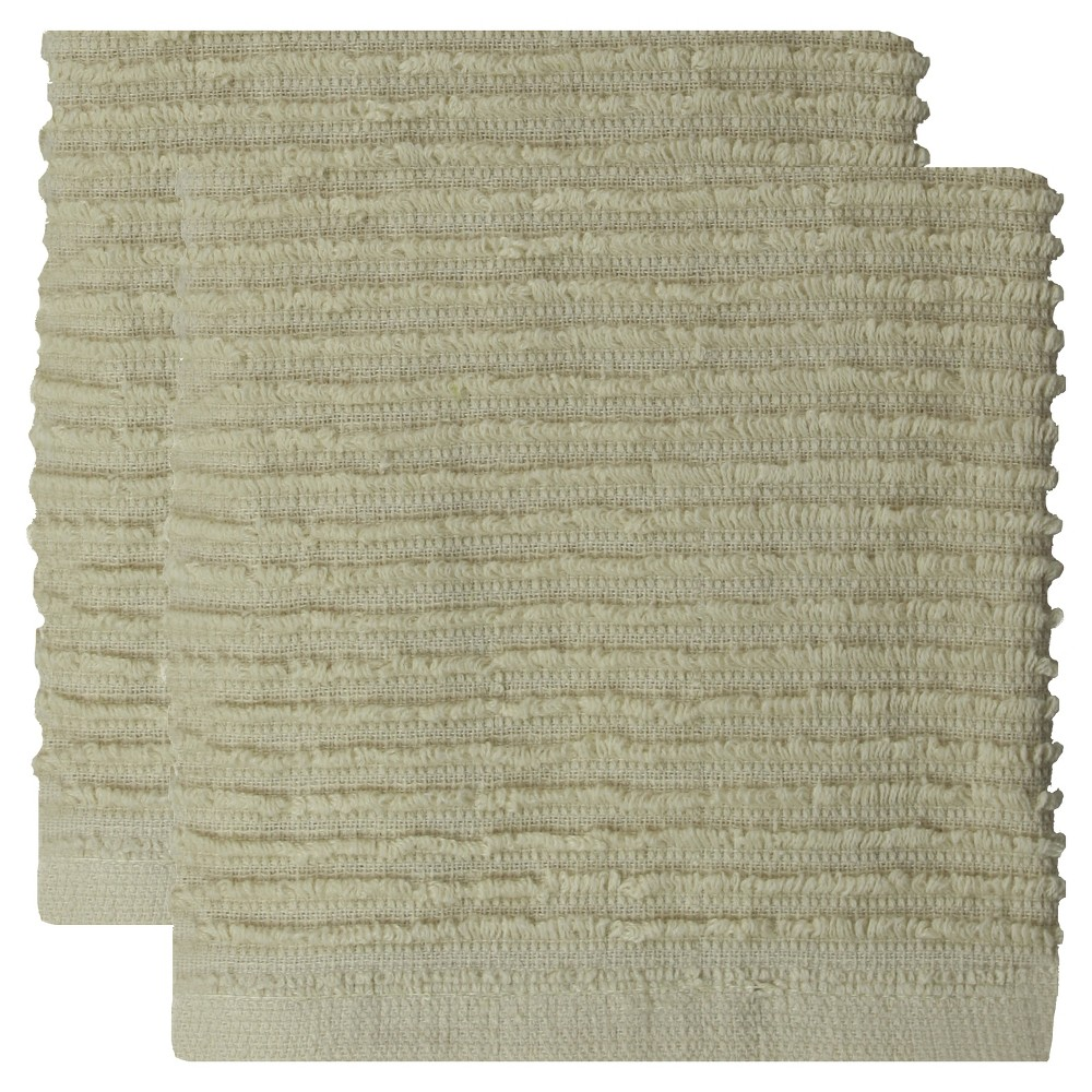 "Image of ""12""""x12"""" 2pk Cotton Ridged Dish Cloth Oatmeal Beige - MU kitchen"""