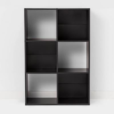 6 Cube Bookshelf Black - Room Essentials™