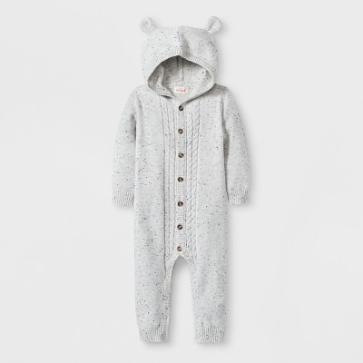 Baby Hooded Critter Sweater Romper - Cat & Jack™ Gray 0-3M
