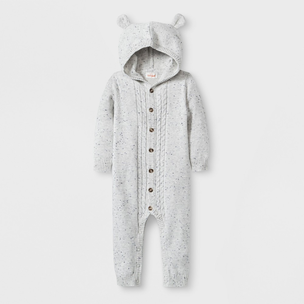 Baby Hooded Critter Sweater Romper - Cat & Jack Gray 3-6M, Infant Unisex