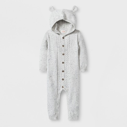 d99fadaad Baby Hooded Critter Sweater Romper - Cat & Jack™ Gray : Target