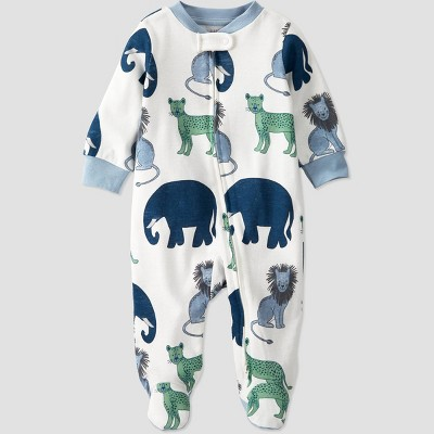 Baby Boys' Animals Sleep N' Play - little planet by carter's White/Blue 3M