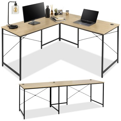 Best Choice Products 94.5in Modular L-Shaped Desk, Corner Workstation, 2-Person Study Table for Home, Office - Oak/Black