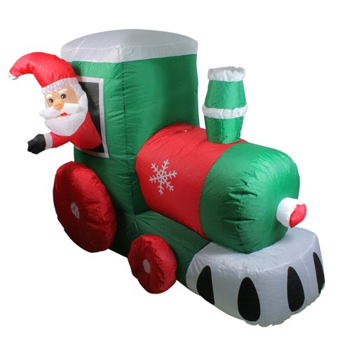 Northlight 4 5 Inflatable Santa On Locomotive Train Lighted Outdoor