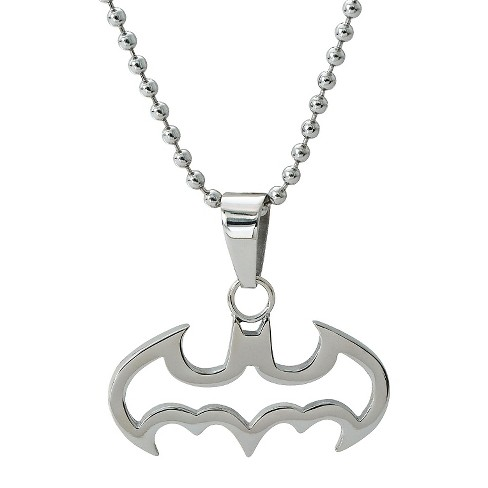 "Kids' DC Comics Batman Cut Out Logo Necklace in Stainless Steel - Silver (16"") - image 1 of 1"