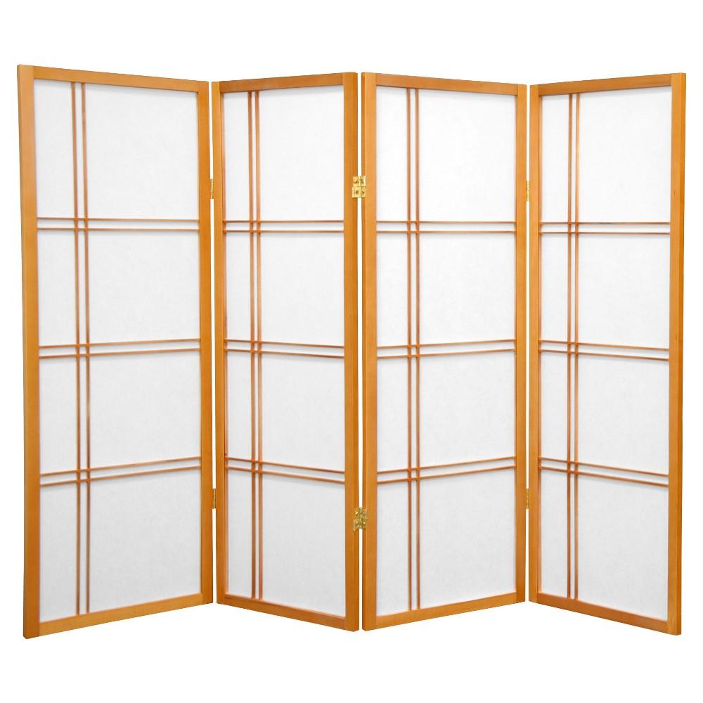 Image of 4 ft. Tall Double Cross Shoji Screen - Honey (4 Panels) - Oriental Furniture, Pumpkin