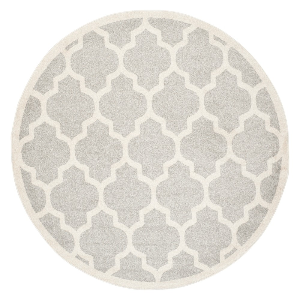 Round 7' Outer Patio Rug - Light Gray / Beige - Safavieh