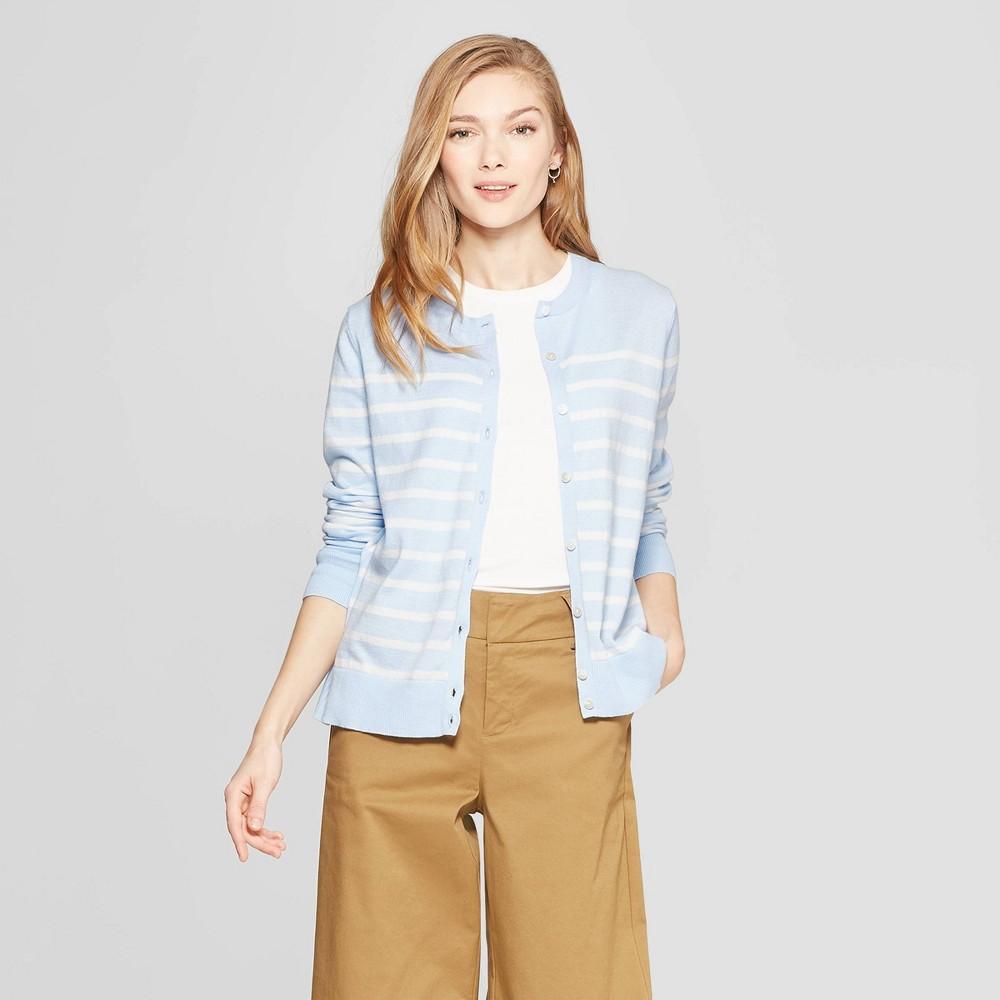Women's Striped Long Sleeve Crew Neck Cardigan - A New Day Light Blue/Cream (Light Blue/Ivory) S