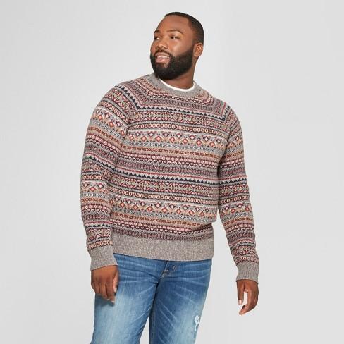 e84a8582fe Men s Big   Tall Long Sleeve Jacquard Fairisle Crew Neck Pullover Sweater -  Goodfellow   Co™ Grey