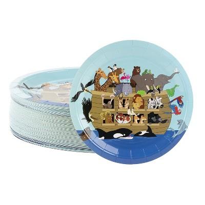 "Blue Panda 80-Count Disposable Paper Plates, Noah's Ark Party Supplies Church Gatherings Round 9""x9"""