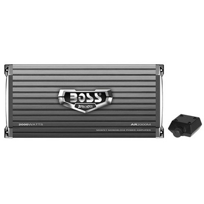 BOSS Audio AR2000M Armor 2000 Watt Monoblock Class A/B 2-4 Ohm 2-4 Ohm Stable Car Audio Amplifier Power Amp with Mosfet Power Supply and Bass Remote
